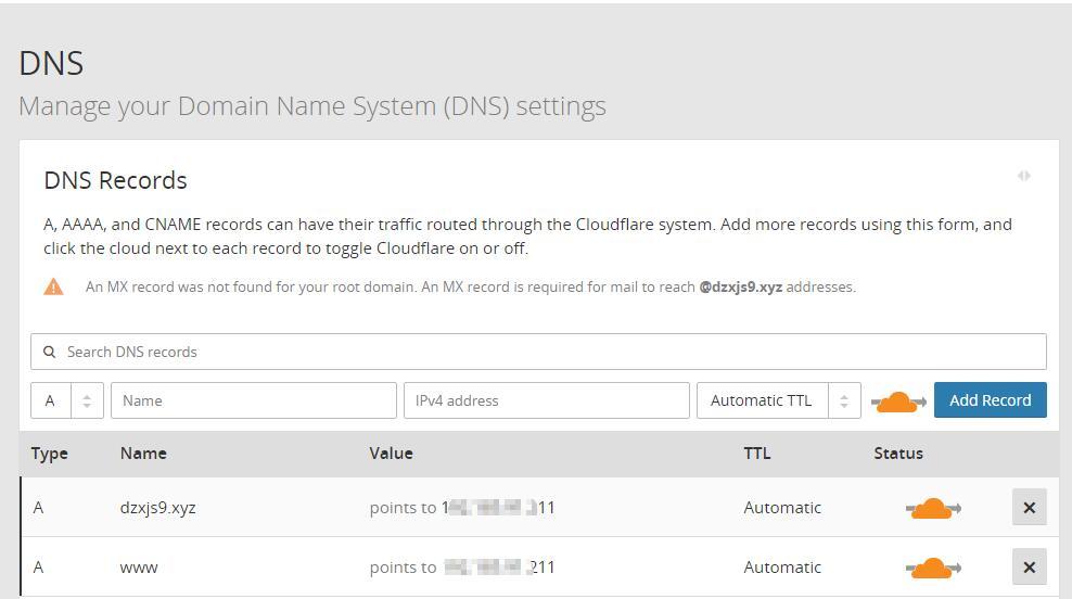 cloudflare DNS设置
